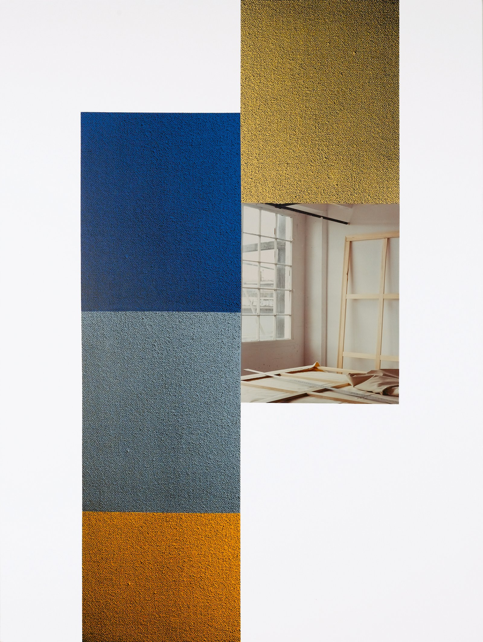 Ian Wallace, In the Studio 98 I & II, 1998, monoprint, acrylic, photolaminate and ink on canvas, 96 x 72 in. (244 x 183 cm). Installation view, A Literature of Images, Kunsthalle Zürich, 2008 by Ian Wallace