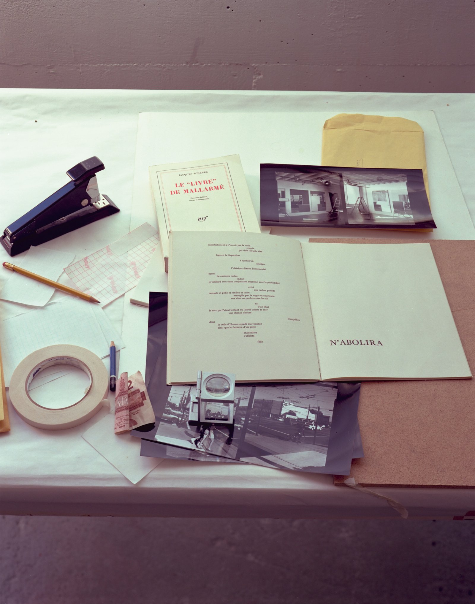 Ian Wallace, In the Studio (Le Livre), 1993–2005, inkjet print, 39 x 32 in. (100 x 82 cm). Installation view, A Literature of Images, Kunsthalle Zürich, 2008 by Ian Wallace