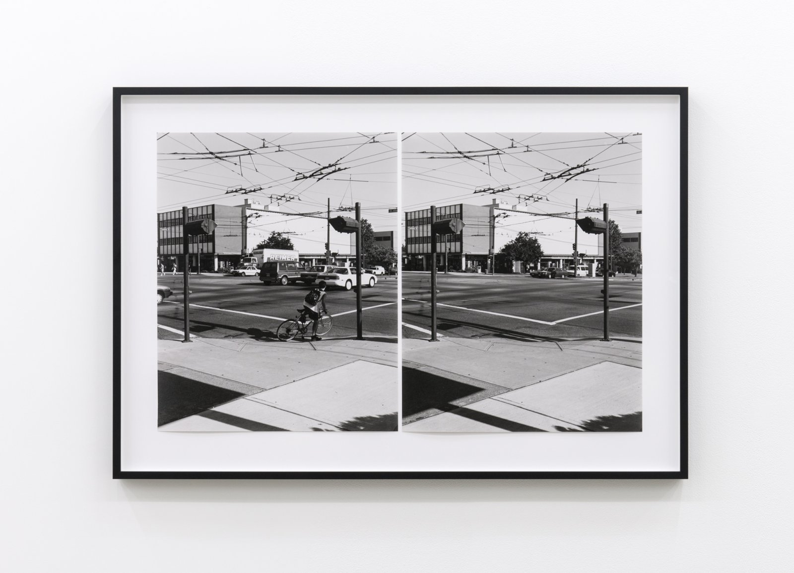 Ian Wallace, Intersection (Cambie and 41st Street), 1996, two black and white photographs, 23 x 19 in. (60 x 48 cm) by Ian Wallace