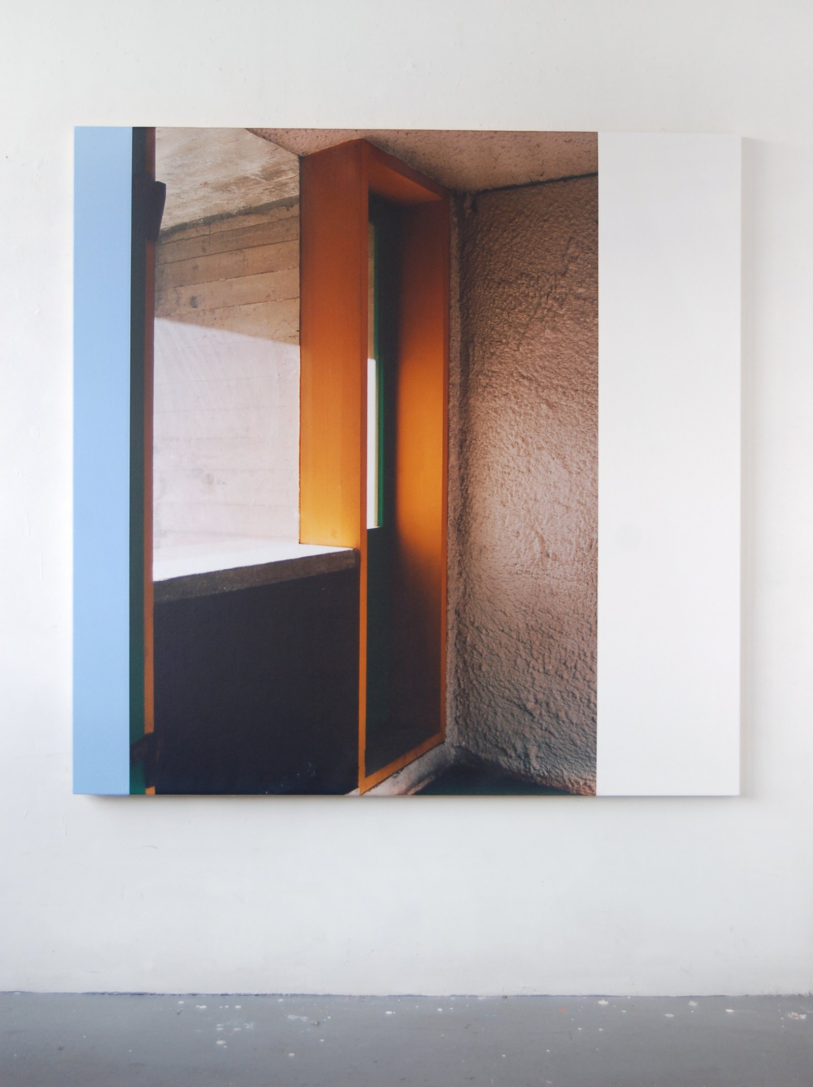 Ian Wallace,La Tourette (A Space for Waiting), 2006, photolaminate and acrylic on canvas, 60 x 60 in. (152 x 152 cm)