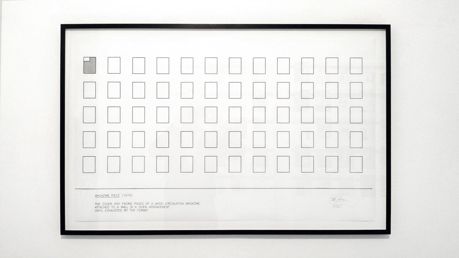 Ian Wallace,Magazine Piece Schema, 1970, ink on vellum, 24 x 40 in. (62 x 102 cm)