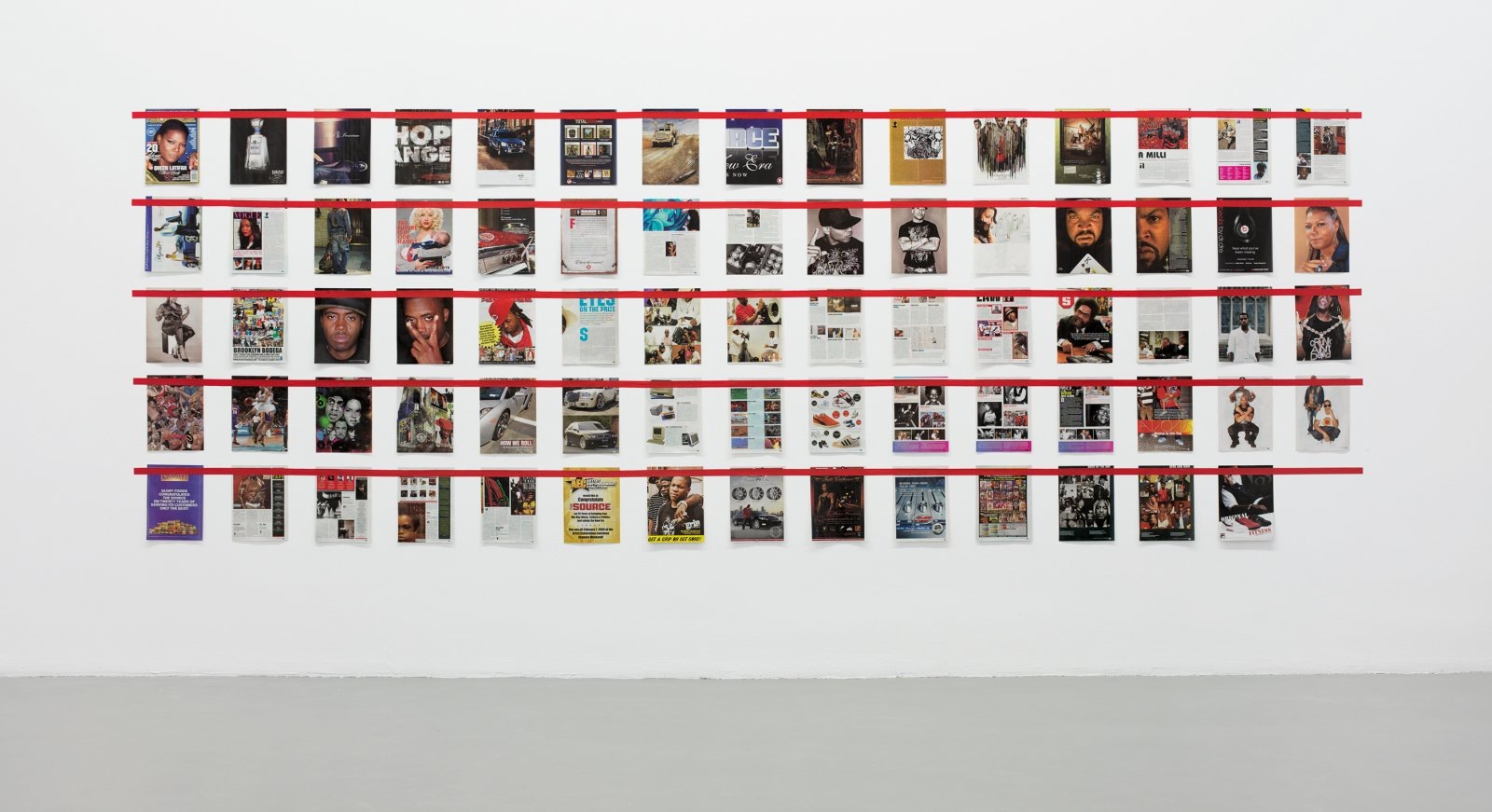 ​Ian Wallace, ​Magazine Piece, 1970–2008, magazine pages and tape, dimensions variable. Installation view, ​A Literature of Images​, Witte de With, Rotterdam, 2008​​ by Ian Wallace