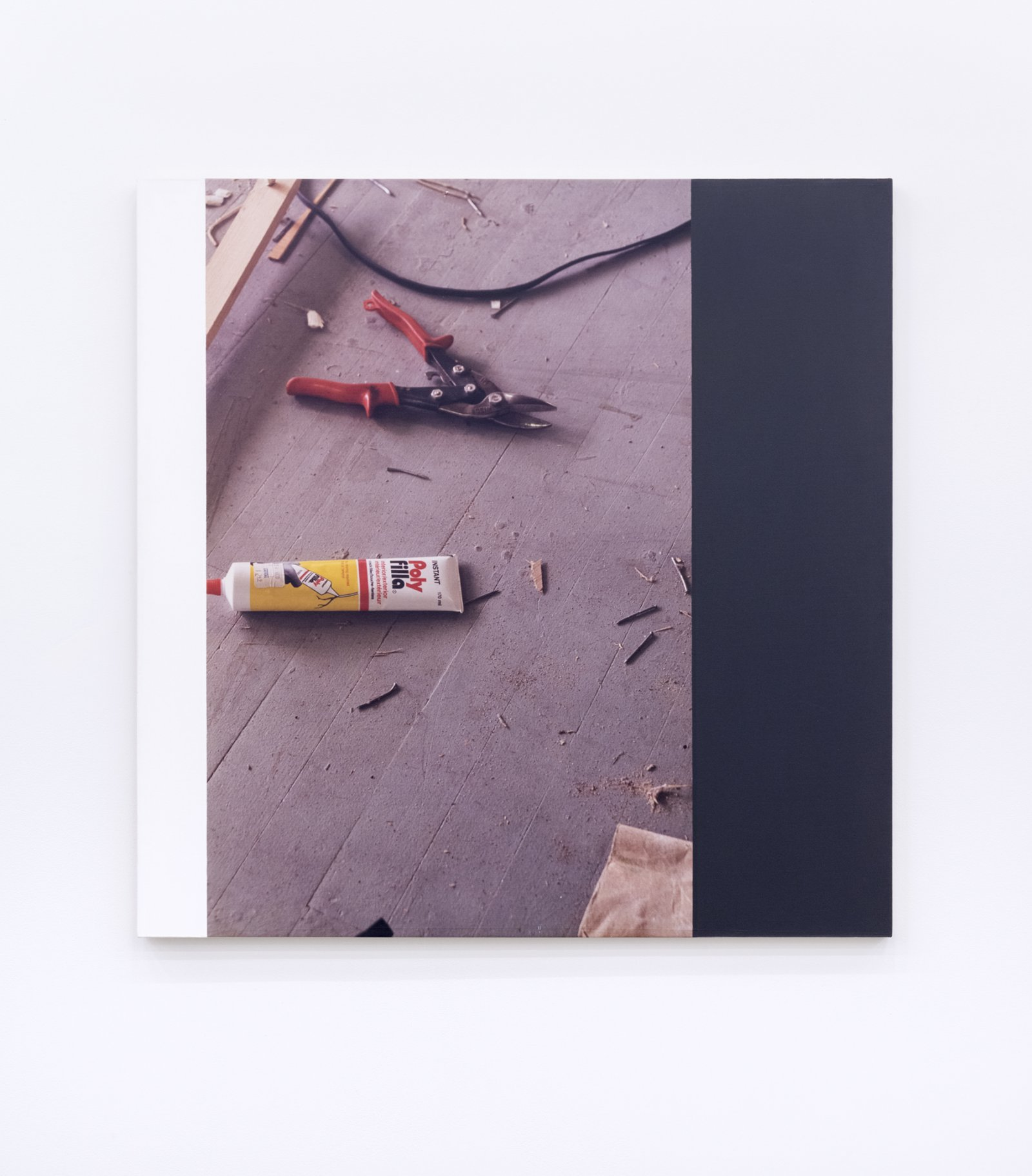 Ian Wallace, Messes from the floor of the studio of Elspeth Pratt VII, 1989, photolaminate and acrylic on canvas, 48 x 48 in. (122 x 122 cm) by Ian Wallace