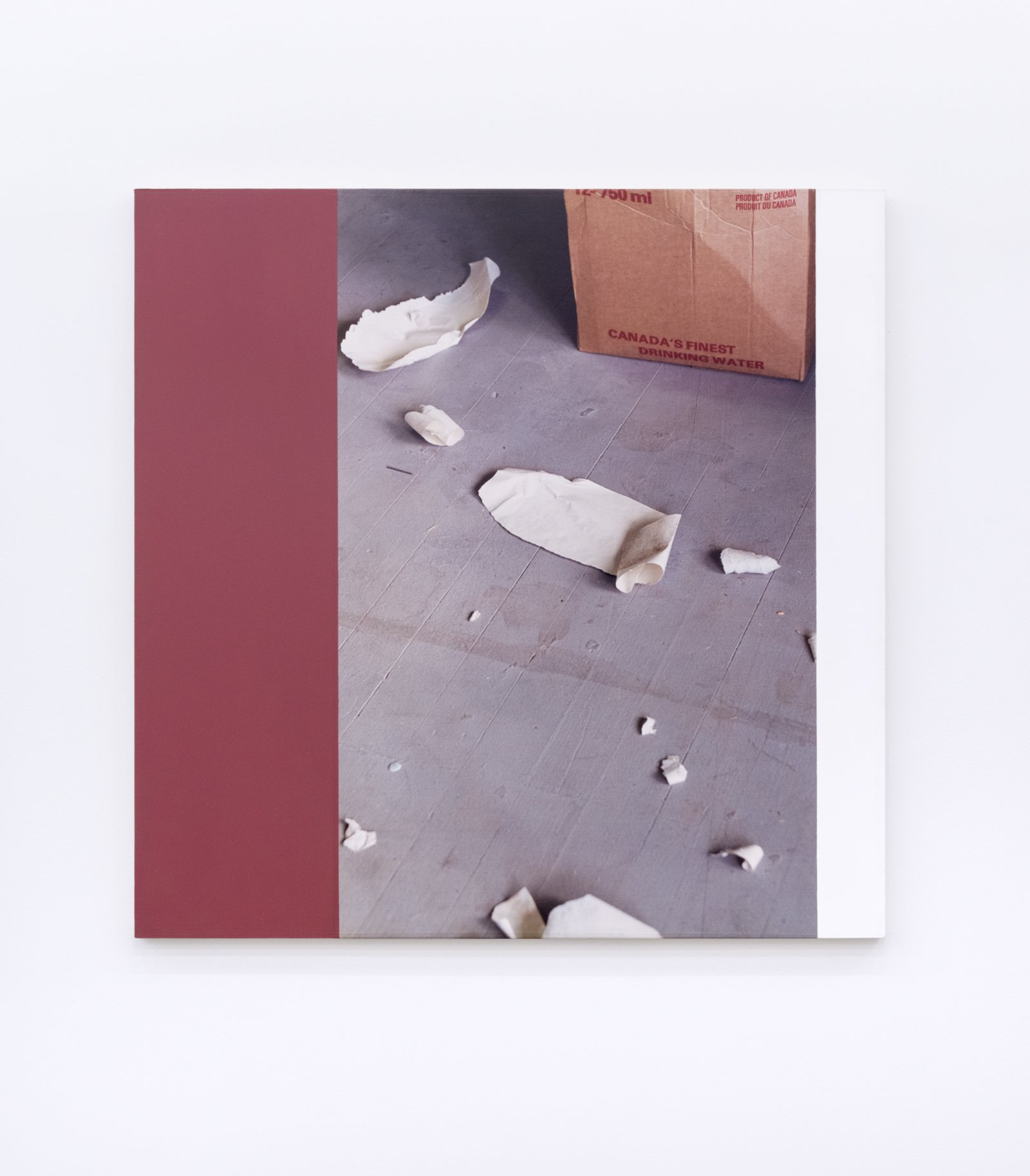 Ian Wallace, Messes from the floor of the studio of Elspeth Pratt VI, 1989, photolaminate and acrylic on canvas, 48 x 48 in. (122 x 122 cm) by Ian Wallace