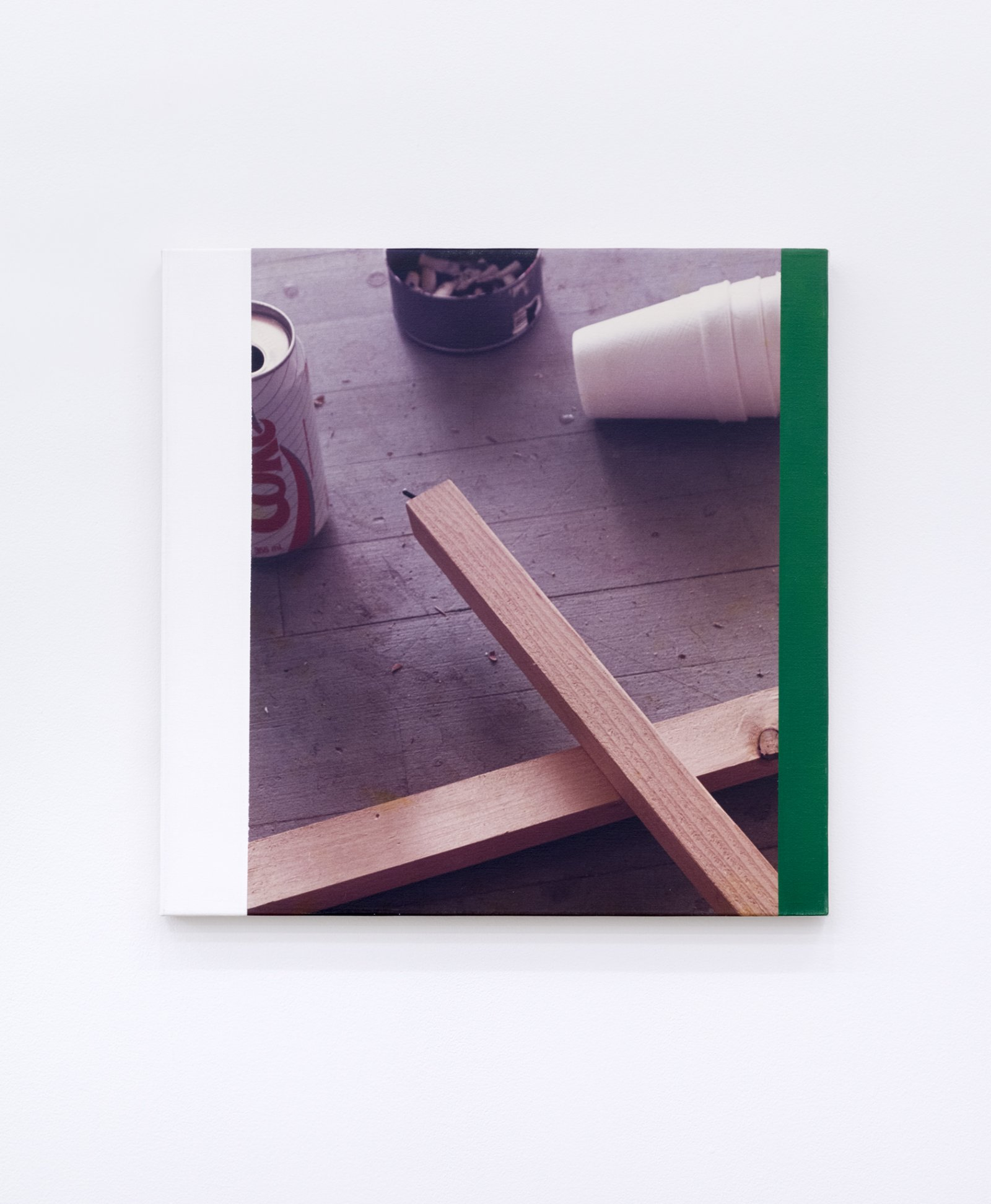 Ian Wallace, Messes from the floor of the studio of Elspeth Pratt, 1989, photolaminate and acrylic on canvas, 24 x 24 in. (61 x 61 cm) by Ian Wallace