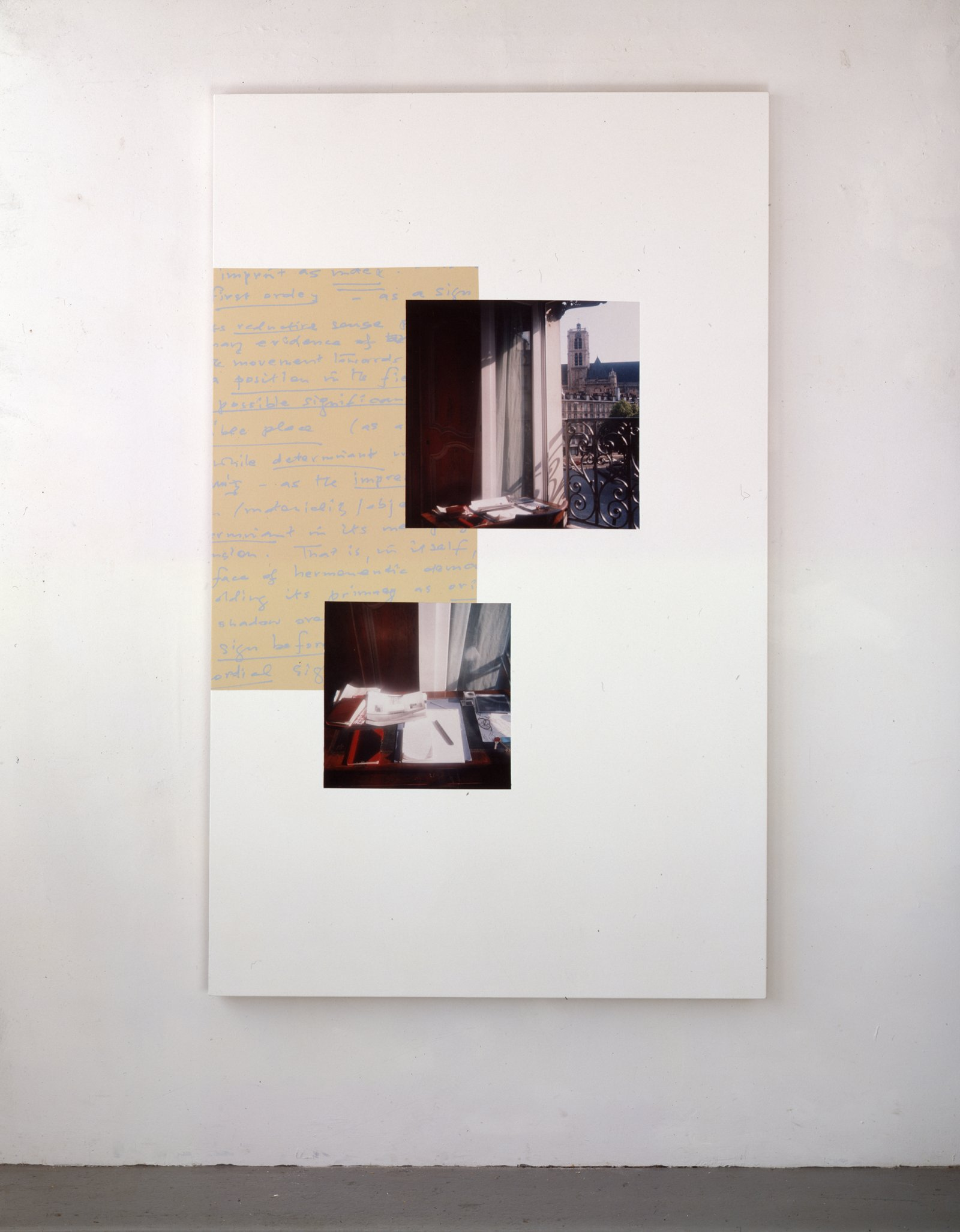 Ian Wallace,Notes on the Imprint, 1996,acrylic and photolaminate on canvas, 78 x 48 in. (198 x 122 cm)