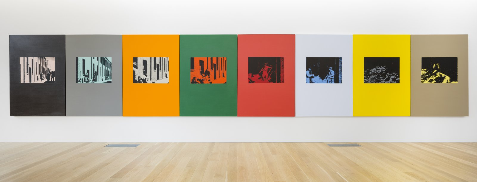 Ian Wallace, Poverty 1982, 1982, oil-based silkscreen over acrylic paint on canvas, 8 panels, 71 x 376 in. (180 x 955 cm). Installation view, Collected Works, The Rennie Museum, Vancouver, 2017