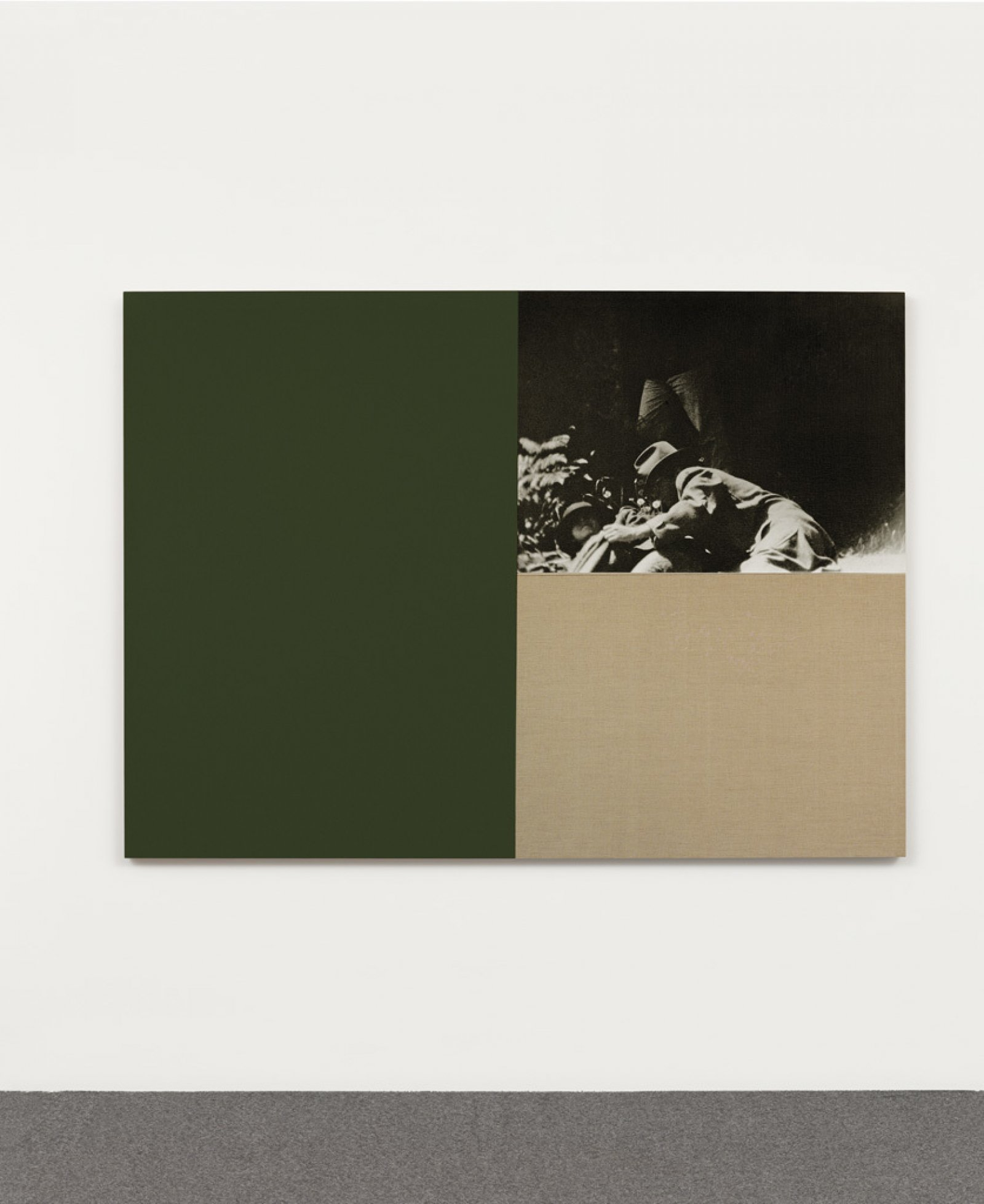 Ian Wallace,Poverty Image with Hookers Green, 1987, photolaminate and acrylic on linen, 47 x 68 in. (119 x 171 cm)