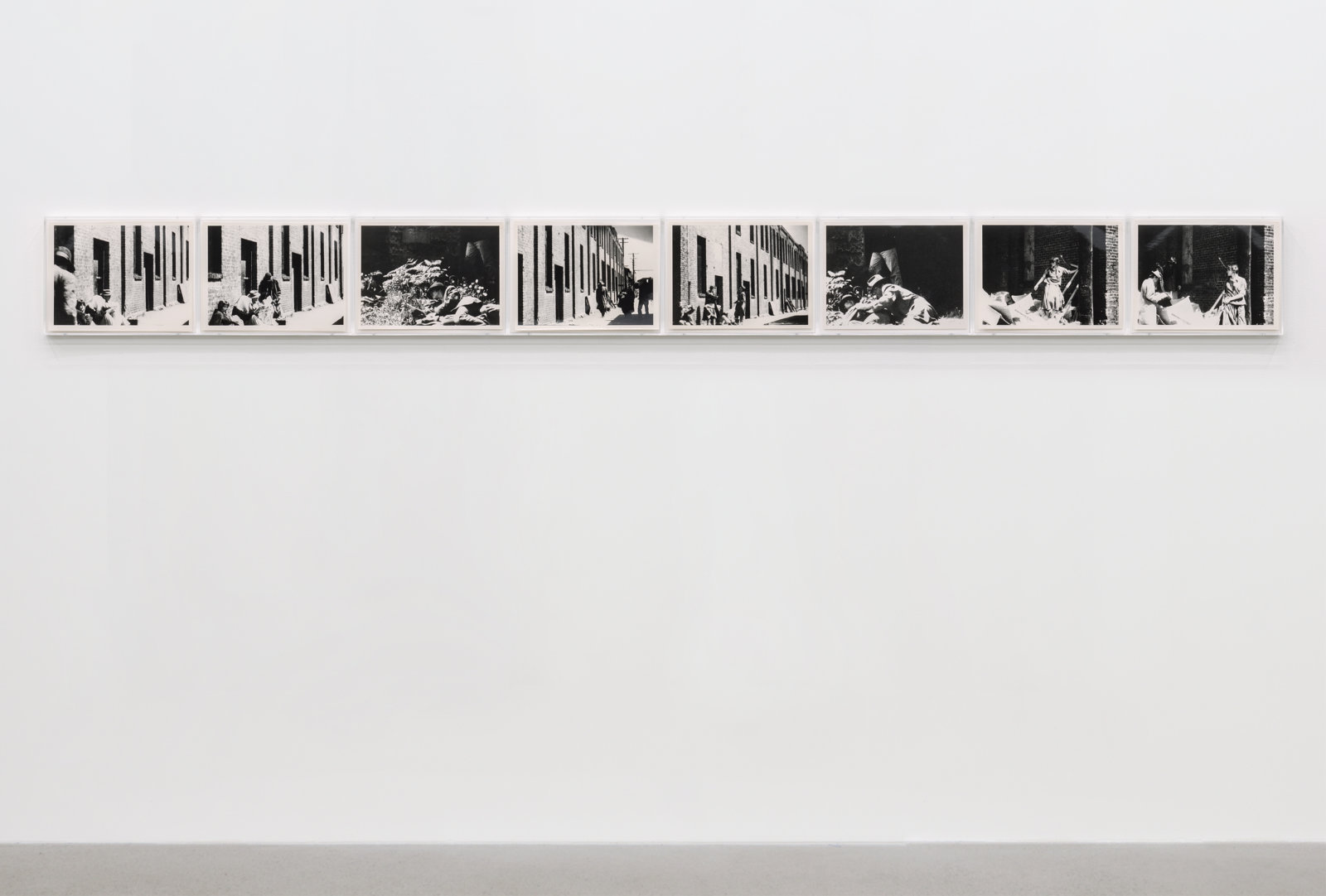 Ian Wallace, Poverty, 1980, 8 black and white photographs, 11 x 120 in. (28 x 305 cm)