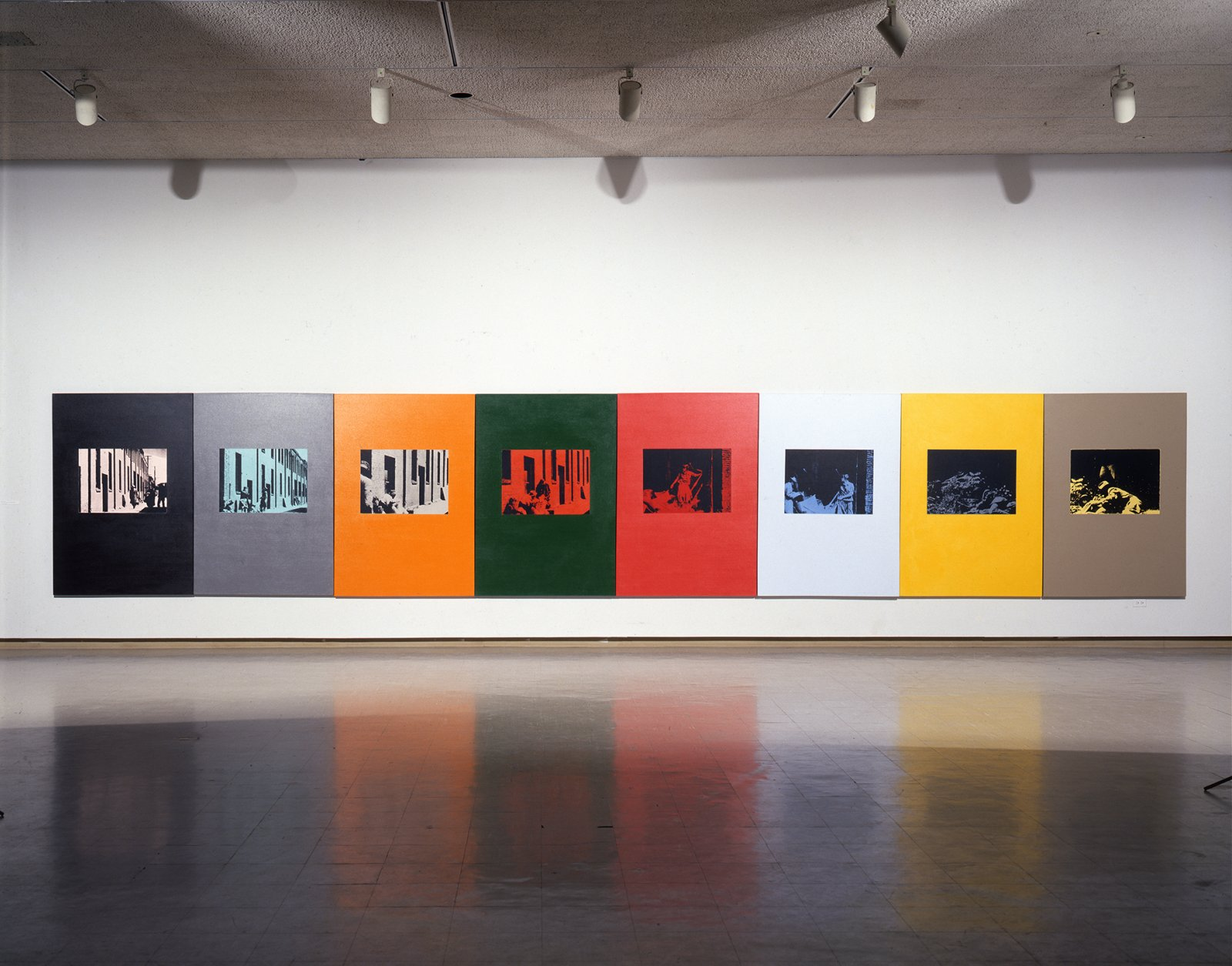 Ian Wallace,Poverty 1982, 1982,oil-based silkscreen over acrylic paint on canvas, 8 panels,71 x 376 in. (180 x 955 cm)