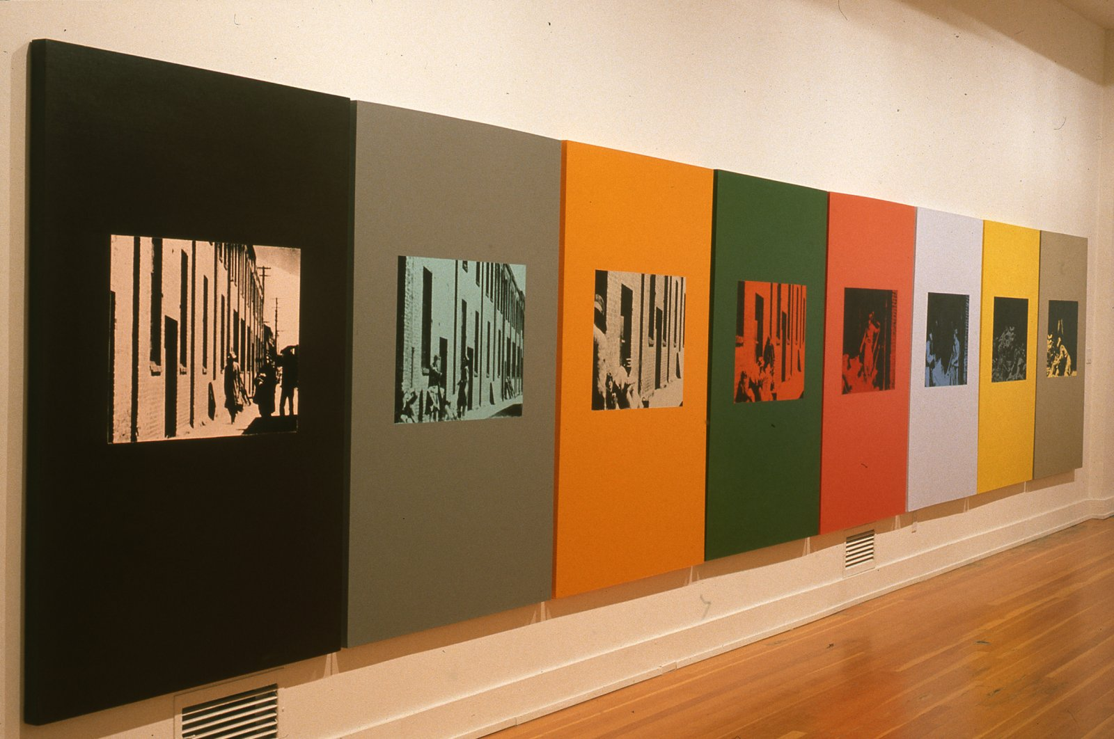Ian Wallace,Poverty 1982(detail), 1982,oil-based silkscreen over acrylic paint on canvas, 8 panels,71 x 376 in. (180 x 955 cm)