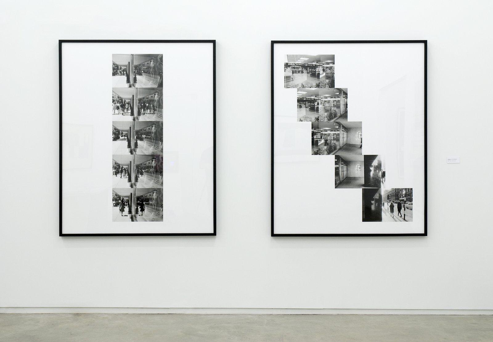 Ian Wallace, Street Reflections and Pan Am Scan, 1970–2009, 2 black and white photo inkets, each 61 x 48 in. (154 x 121 cm) by Ian Wallace