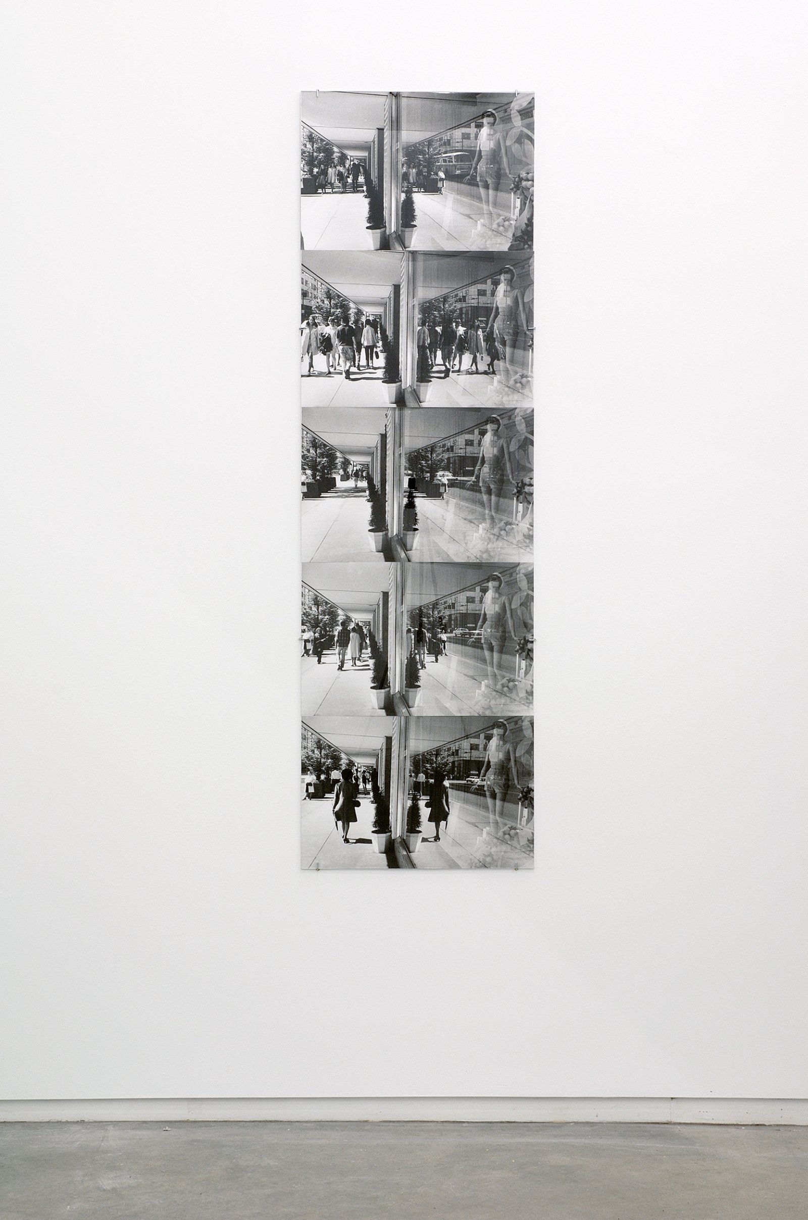 ​Ian Wallace, Street Reflections, 1970–2007, 5 black and white photographs with plexiglas, 66 x 20 in. (168 x 51 cm) by Ian Wallace