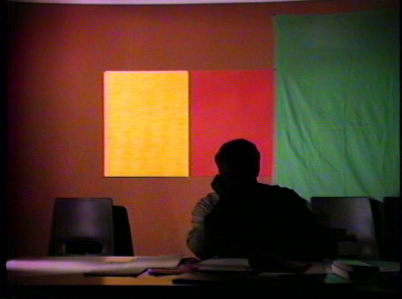 Ian Wallace,Study Corridor(still), 1983, 2 channel video, 3/4 inch video transferred to DVD
