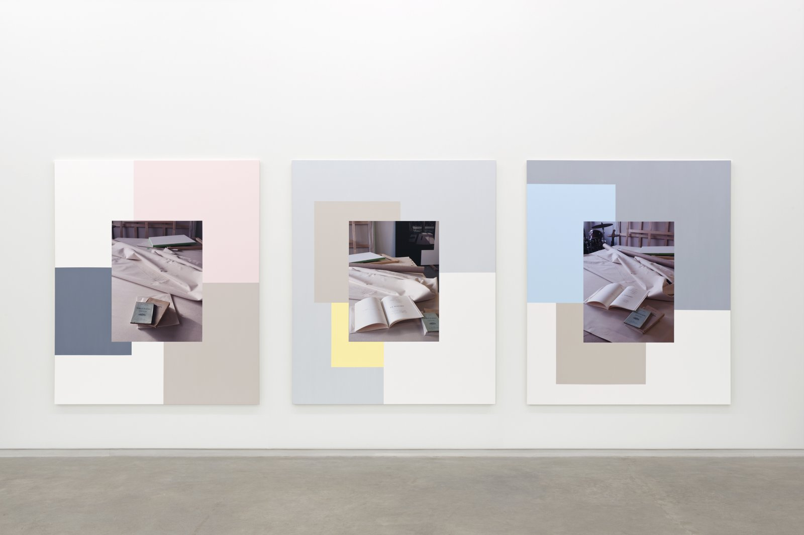 Ian Wallace,Table with Un Coup de Des I, II, III, 2011,3 photolaminate with acrylic on canvas,each 72 x 60 in. (183 x 152 cm)