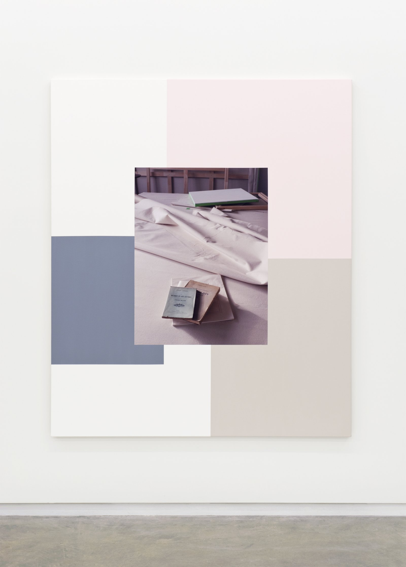 Ian Wallace,Table with Un Coup de Des I, 2011, photolaminate with acrylic on canvas, 72 x 60 in. (183 x 152 cm)