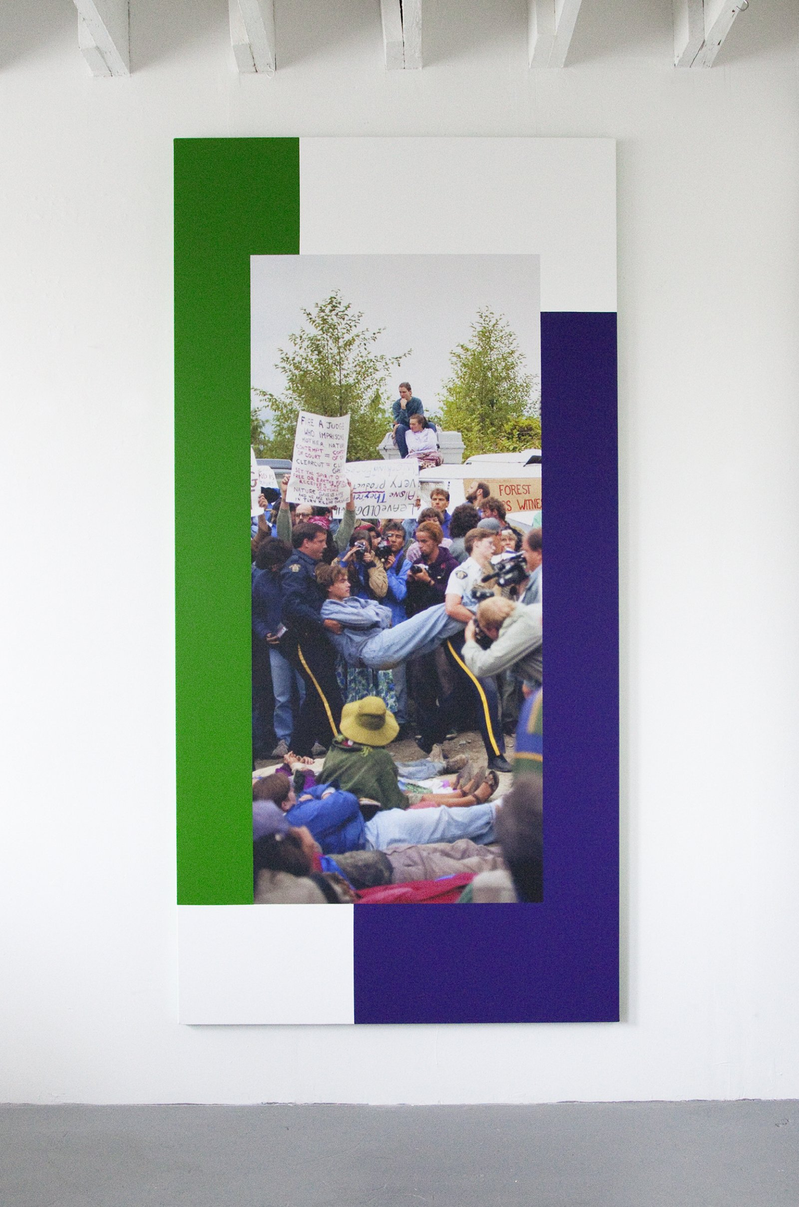 Ian Wallace,The Arrest (Clayoquot Protest August 9, 1993), 2014, photolaminate with acrylic on canvas, 96 x 48 in. (244 x 122 cm)