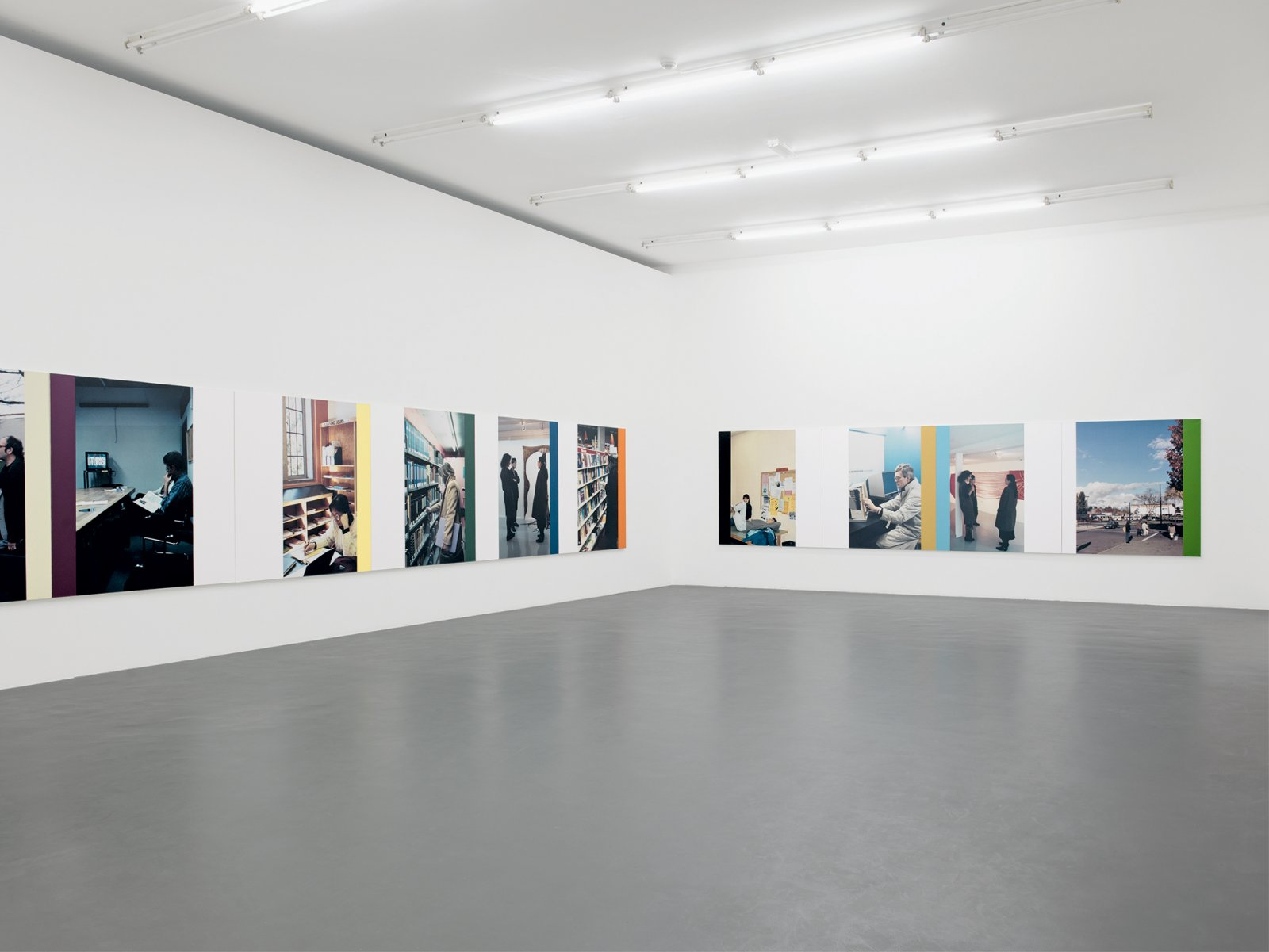 ​Ian Wallace, ​The Idea of the University I–XVI​, 1990, photolaminate with acrylic on canvas, each 60 x 60 in. (152 x 152 cm). Installation view, ​A Literature of Images​, Witte de With, Rotterdam, 2008 by Ian Wallace