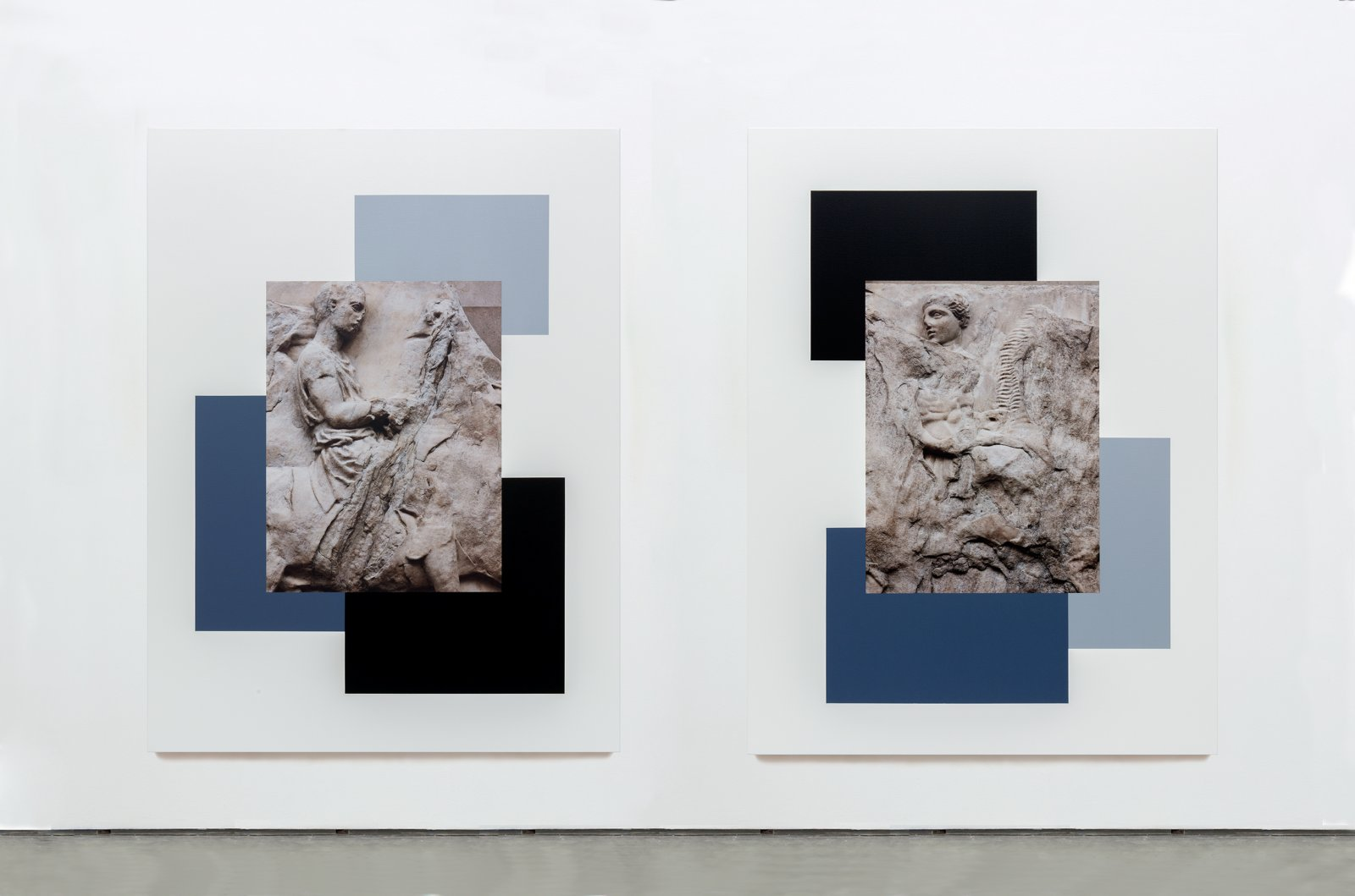 Ian Wallace,The Riders of the Parthenon Frieze I & II, 2013, diptych,photolaminate and acrylic on canvas, each 80 x 60in. (203 x 153cm)