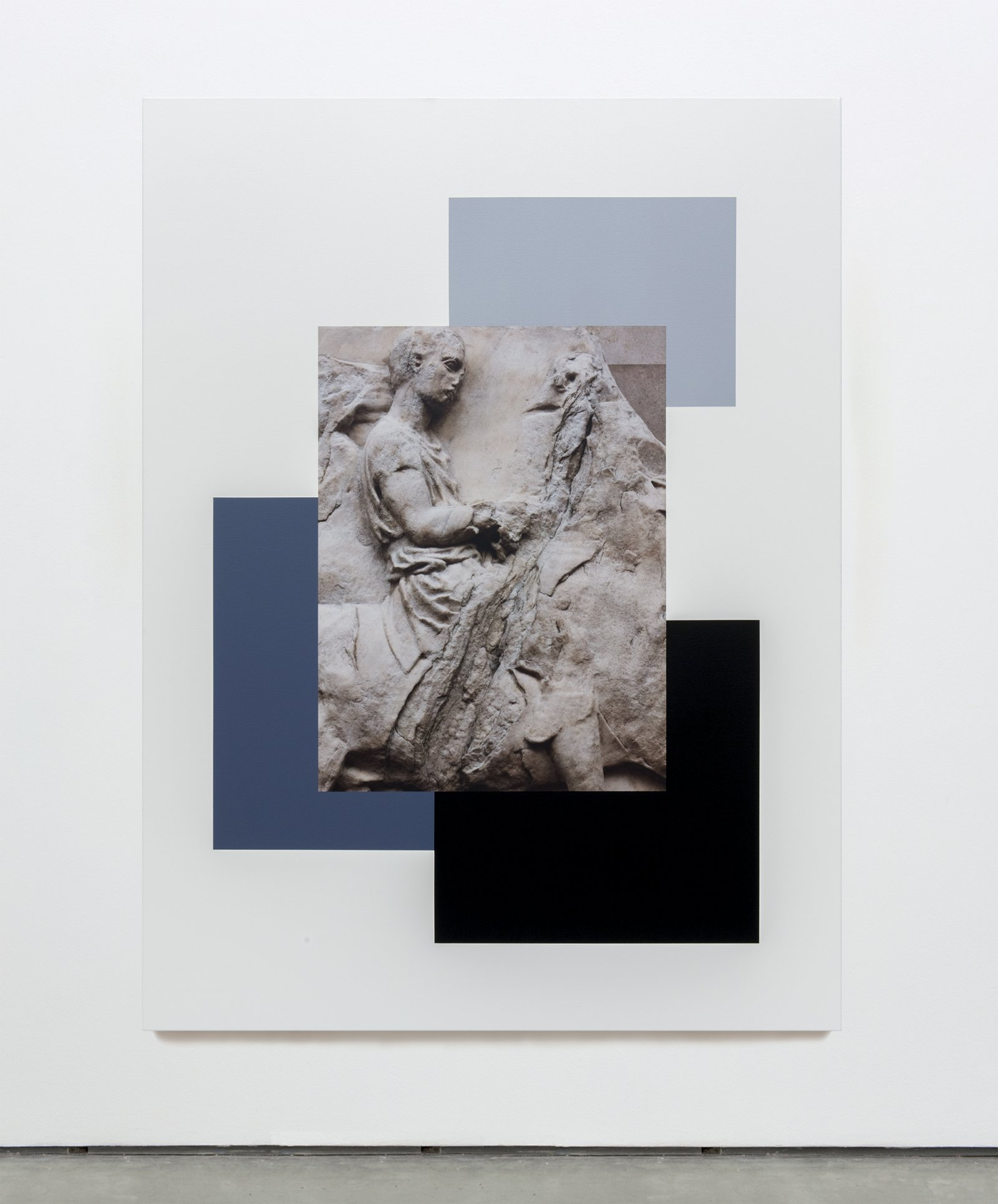 Ian Wallace,The Riders of the Parthenon Frieze I, 2013, photolaminate and acrylic on canvas, 80 x 60in. (203 x 153cm)