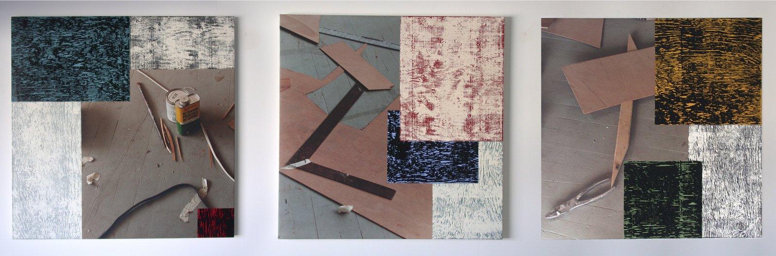 Ian Wallace,The Studio Floor I–III, 1996,3 acrylic, photolaminate and ink monoprint on canvas panels, 36 x 36 in. (91 x 91 cm)