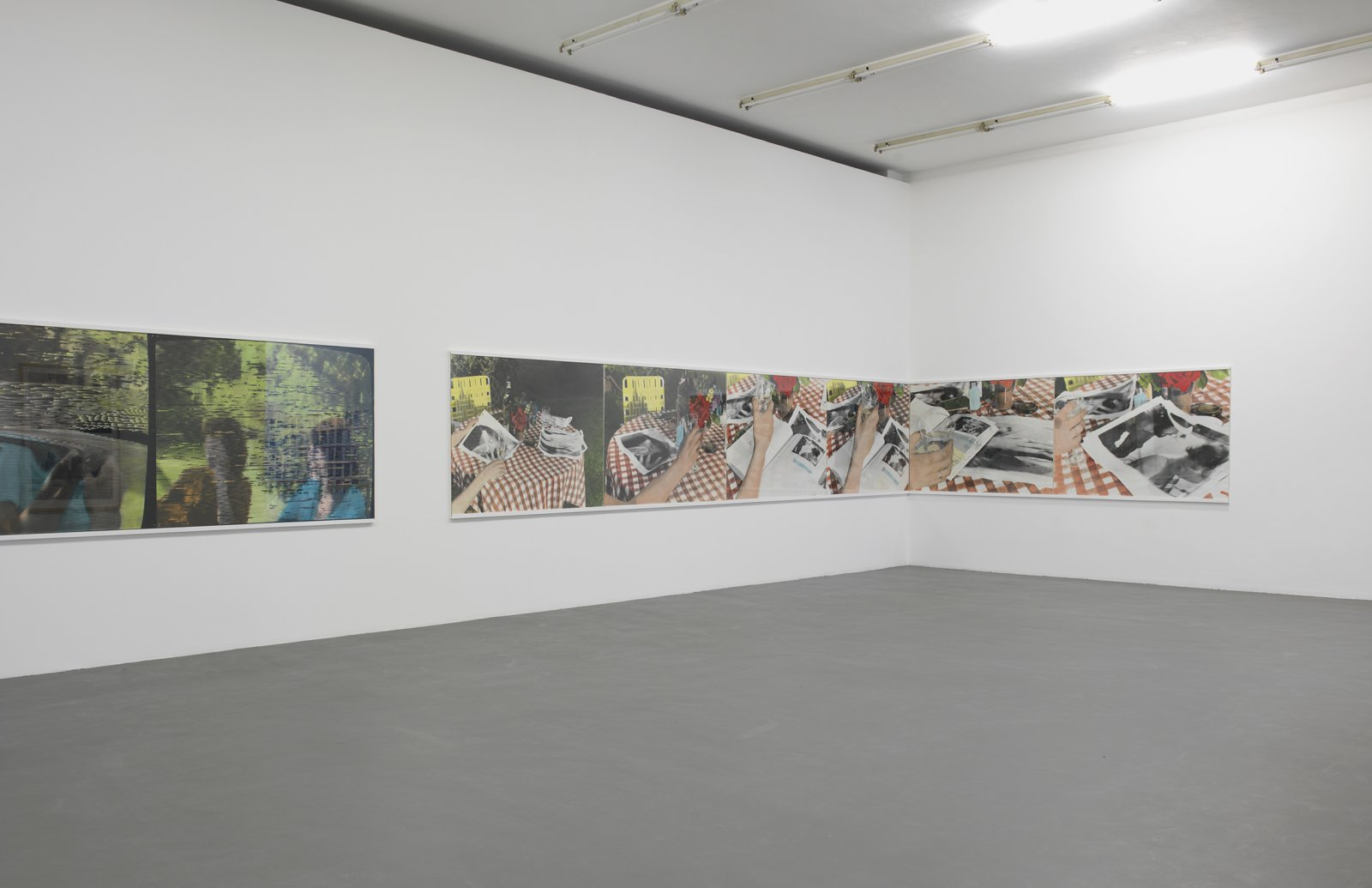​​​​​​​Ian Wallace, The Summer Script I & II, 1974, silver prints, oil, plexiglas on paper, 12 panels, each 47 x 69 in. (119 x 176 cm). Installation view, ​A Literature of Images​, Witte de With, Rotterdam, 2008​​​​​​​​​​​​ by Ian Wallace