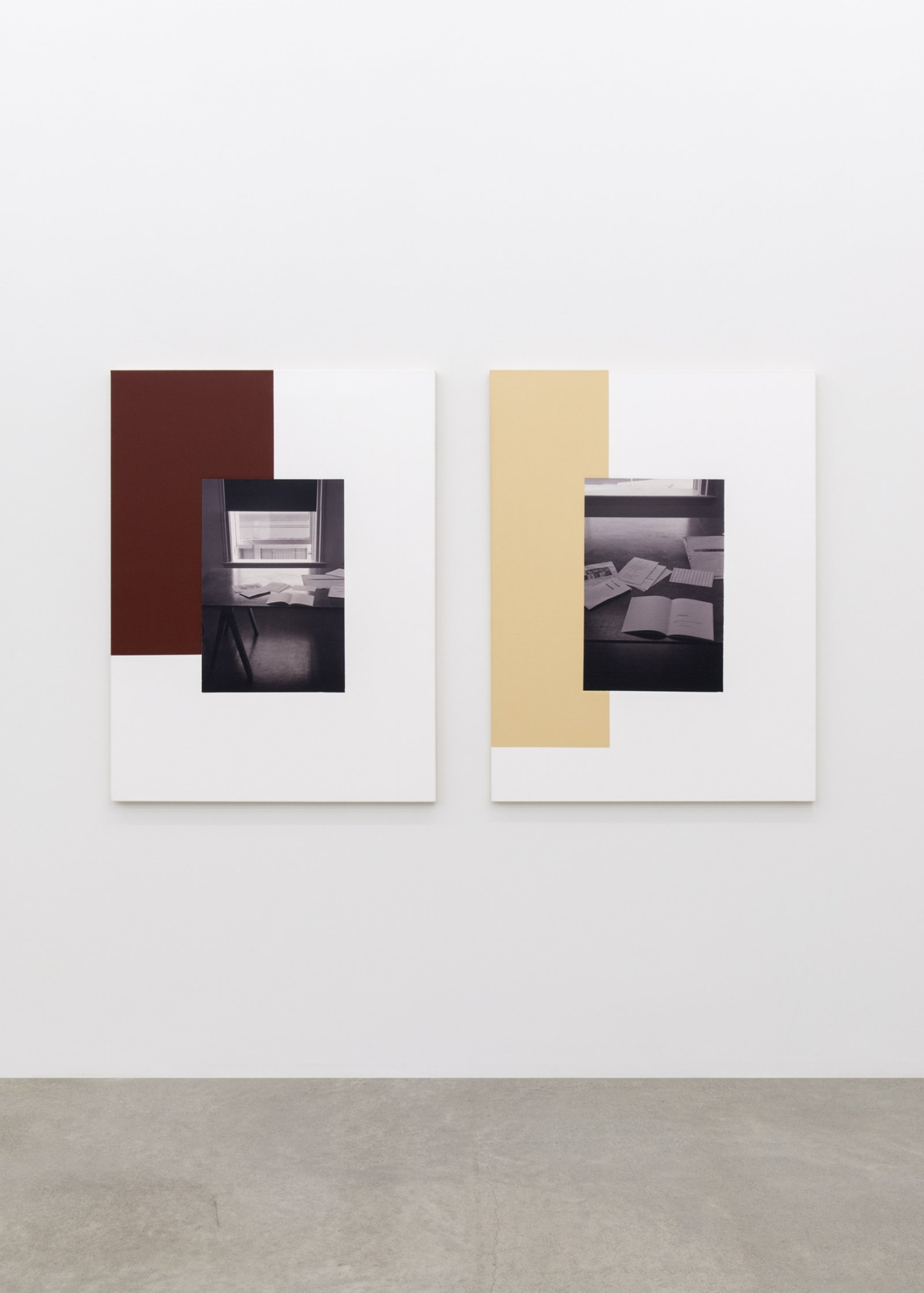 Ian Wallace, The Table (Image/Text) I, II, 1979–2007, photolaminate and acrylic on canvas, each 48 x 72 in. (122 x 183 cm) by Ian Wallace