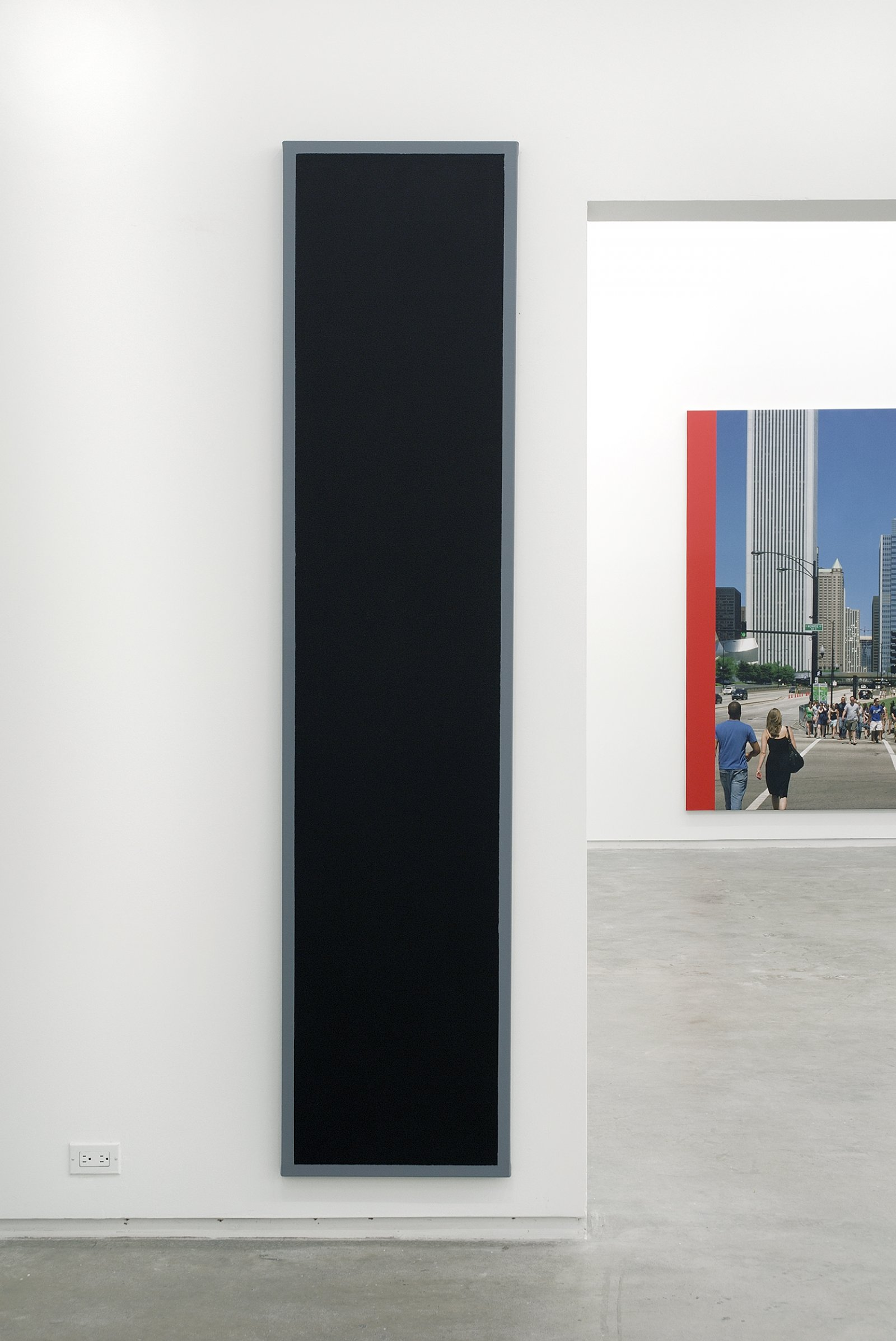 ​​Ian Wallace, Untitled (Black Monochrome with Grey), 1967–2007, acrylic on canvas, 90 x 20 in. (229 x 51 cm)​​​ by Ian Wallace