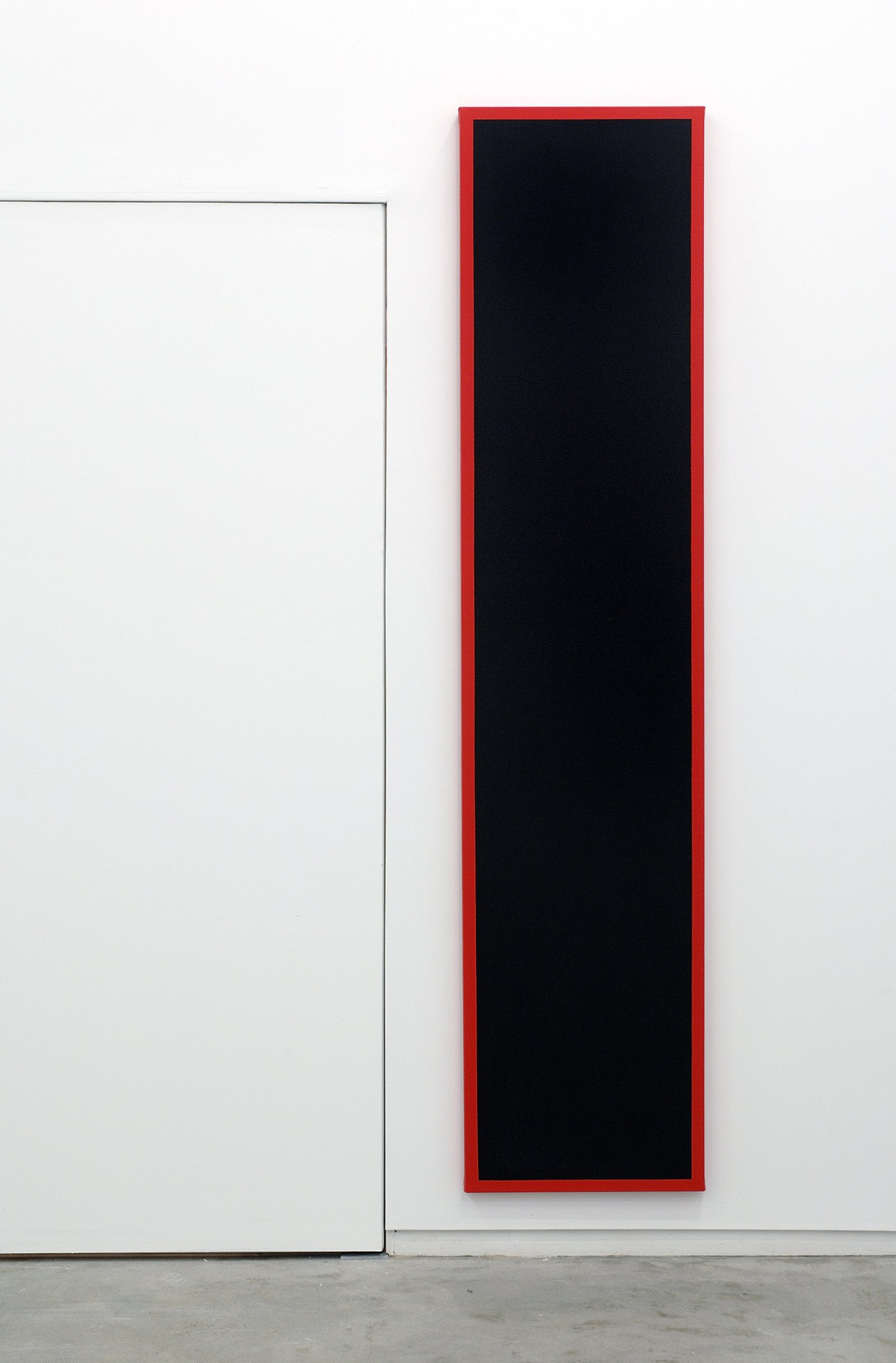 ​​​Ian Wallace, Untitled (Black Monochrome with Red), 1967–2007, acrylic on canvas, 90 x 20 in. (229 x 51 cm)​​​​​​ by Ian Wallace