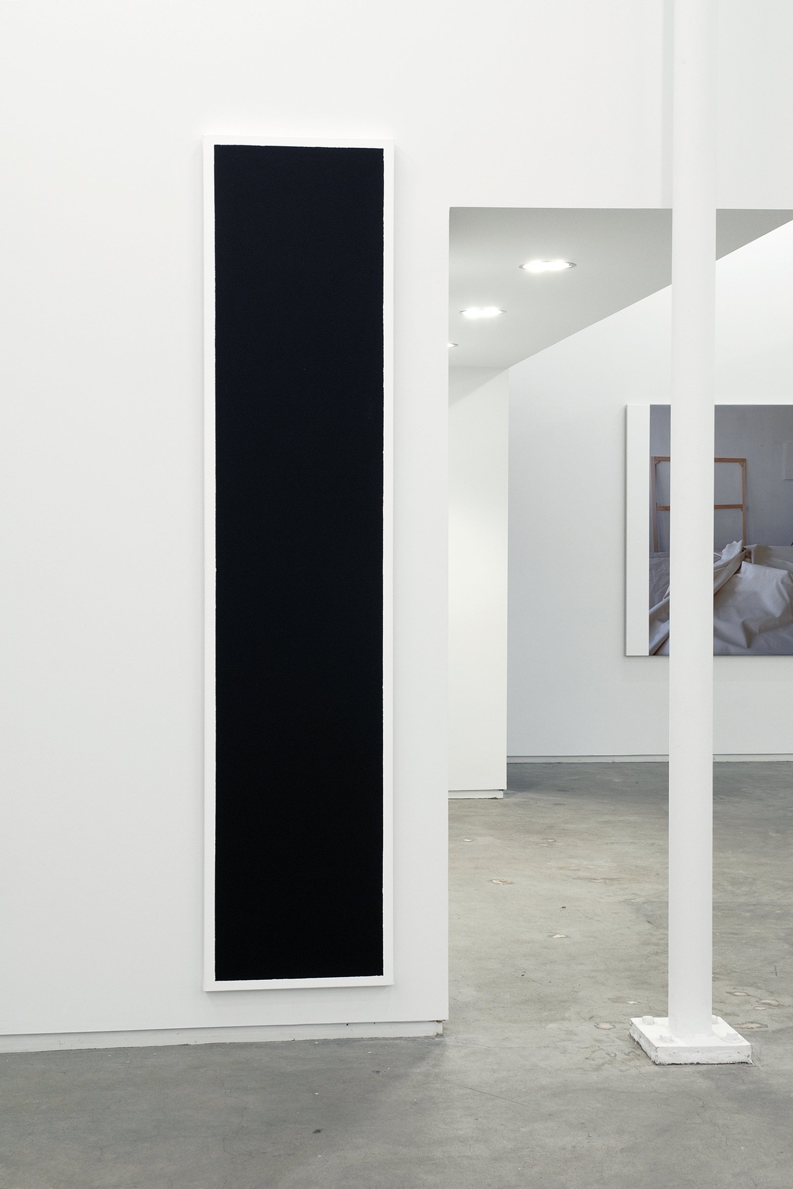​Ian Wallace, Untitled (Black Monochrome with White), 1967–2007, acrylic on canvas, 90 x 20 in. (229 x 51 cm)​​ by Ian Wallace