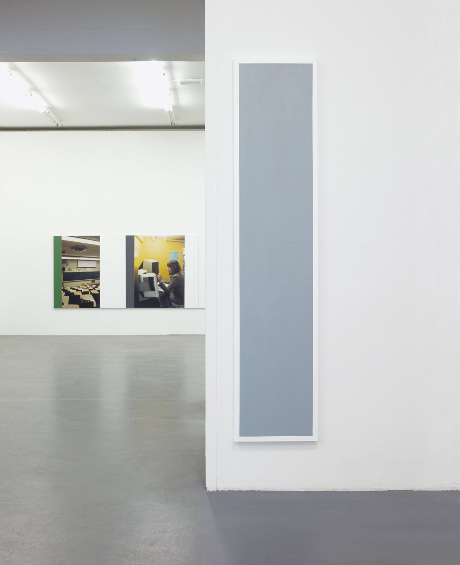 ​​​​Ian Wallace, ​Untitled (Grey Monochrome with White), 1967–2008, acrylic on canvas, 90 x 20 in. (228 x 50 cm). Installation view, ​A Literature of Images​, Witte de With, Rotterdam, 2008​​​​​ by Ian Wallace