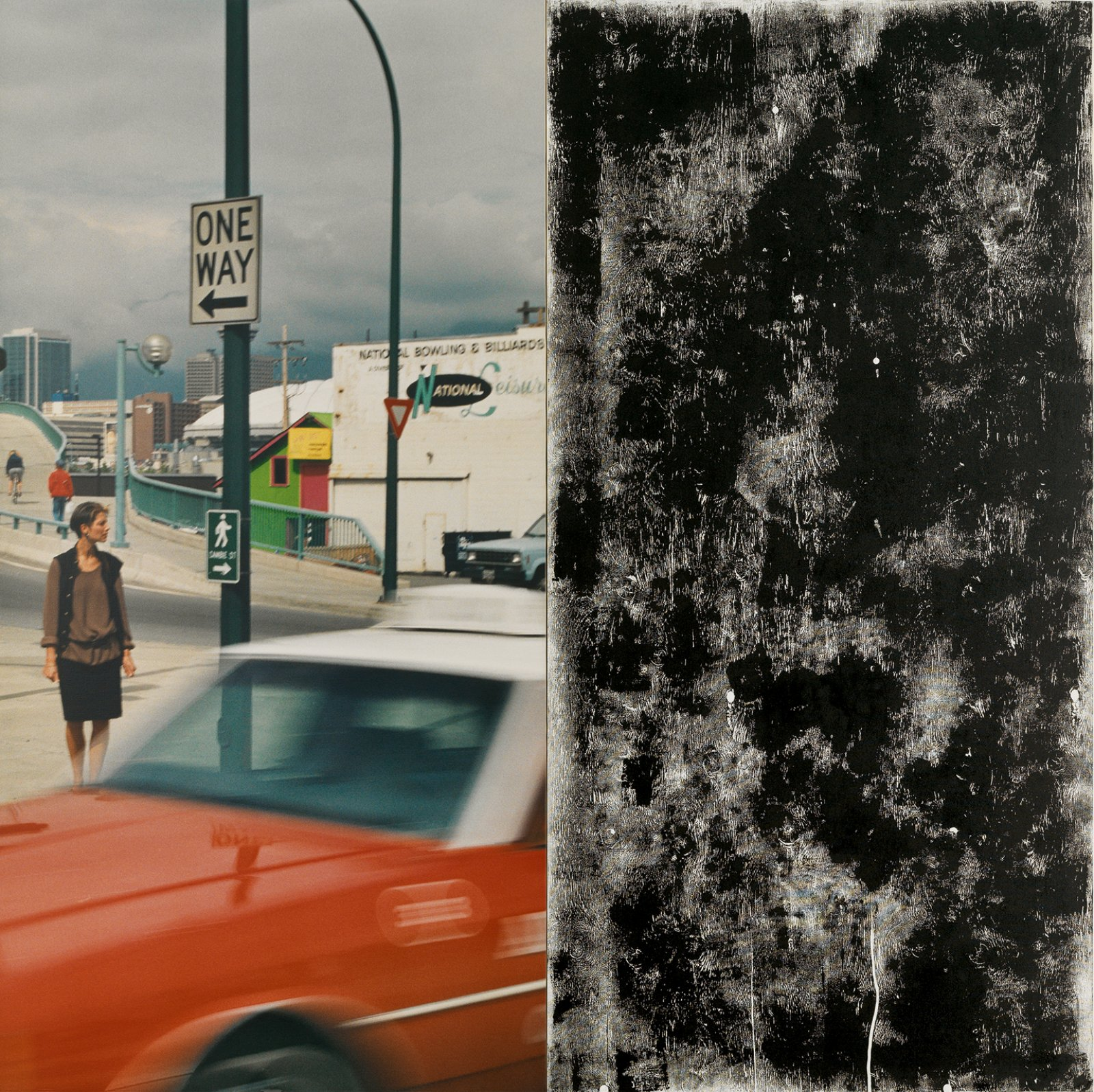 Ian Wallace,Untitled (In the Street I), 1988, photolaminate with acrylic and ink monoprinton canvas, diptych, 96 x 96 in.(244 x 244 cm). Installation view,A Literature of Images, Kunsthalle Zürich, 2008