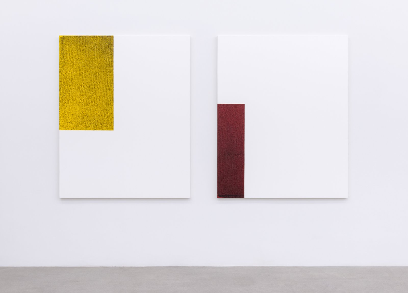 Ian Wallace, Untitled (Monochrome Structure II), 2014, diptych, silkscreen and acrylic on canvas, each 60 x 48 in. (153 x 122 cm) by Ian Wallace
