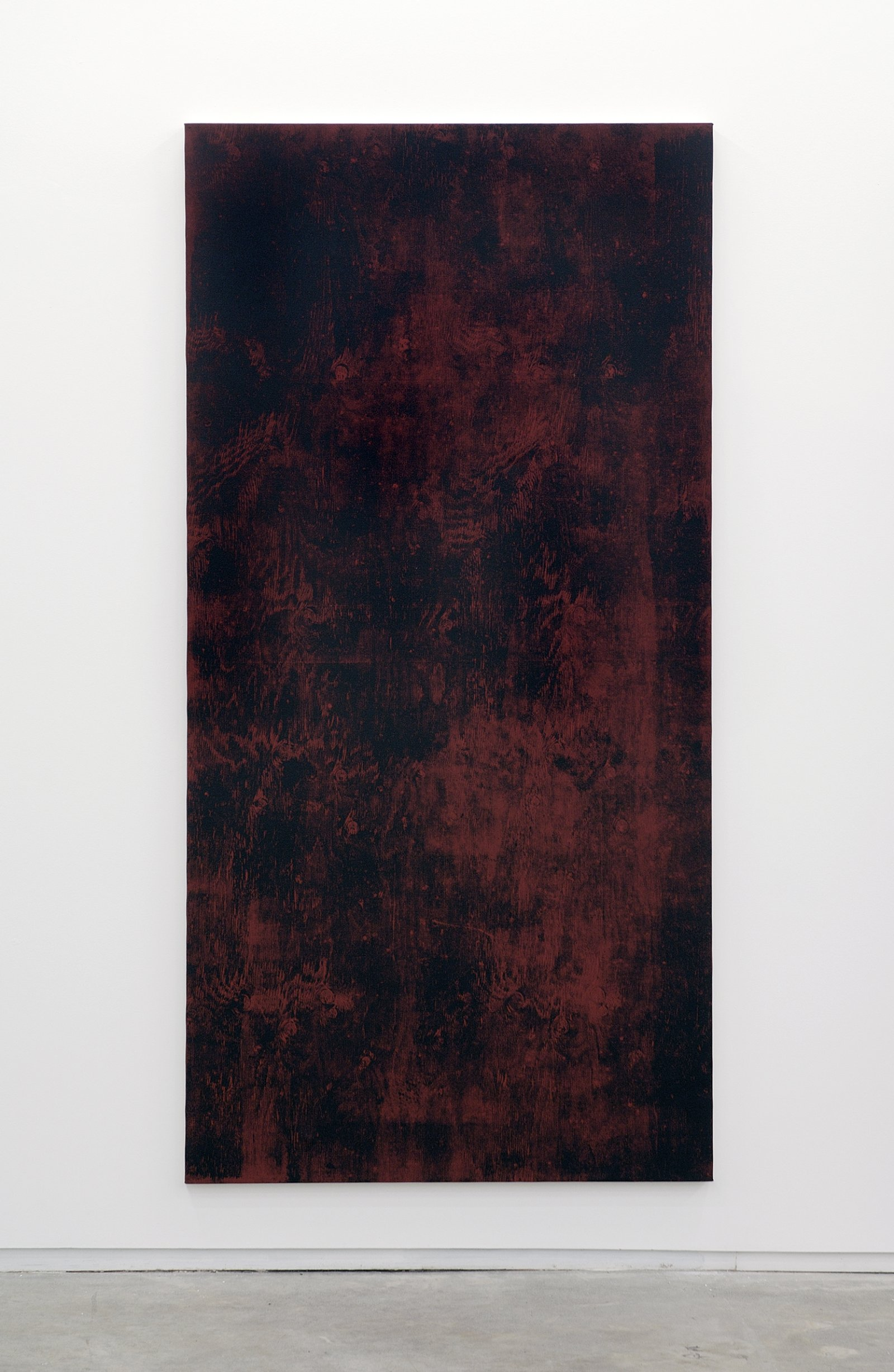 ​​Ian Wallace, Untitled (Monoprint with Burgundy), 1990, acrylic on canvas, 90 x 20 in. (229 x 51 cm)​ by Ian Wallace
