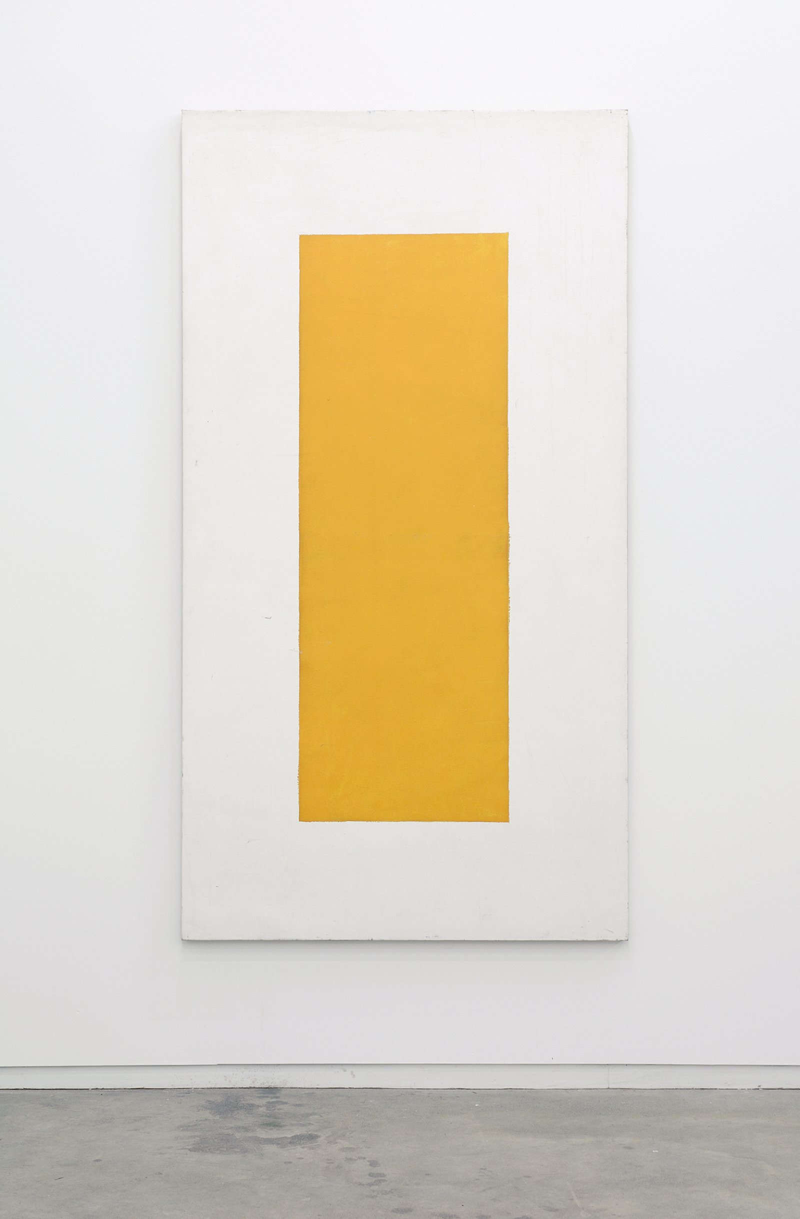 ​Ian Wallace, Untitled (White Monochrome with Orange Rectangle), 1968, acrylic on canvas, 76 x 41 in. (193 x 104 cm) by Ian Wallace