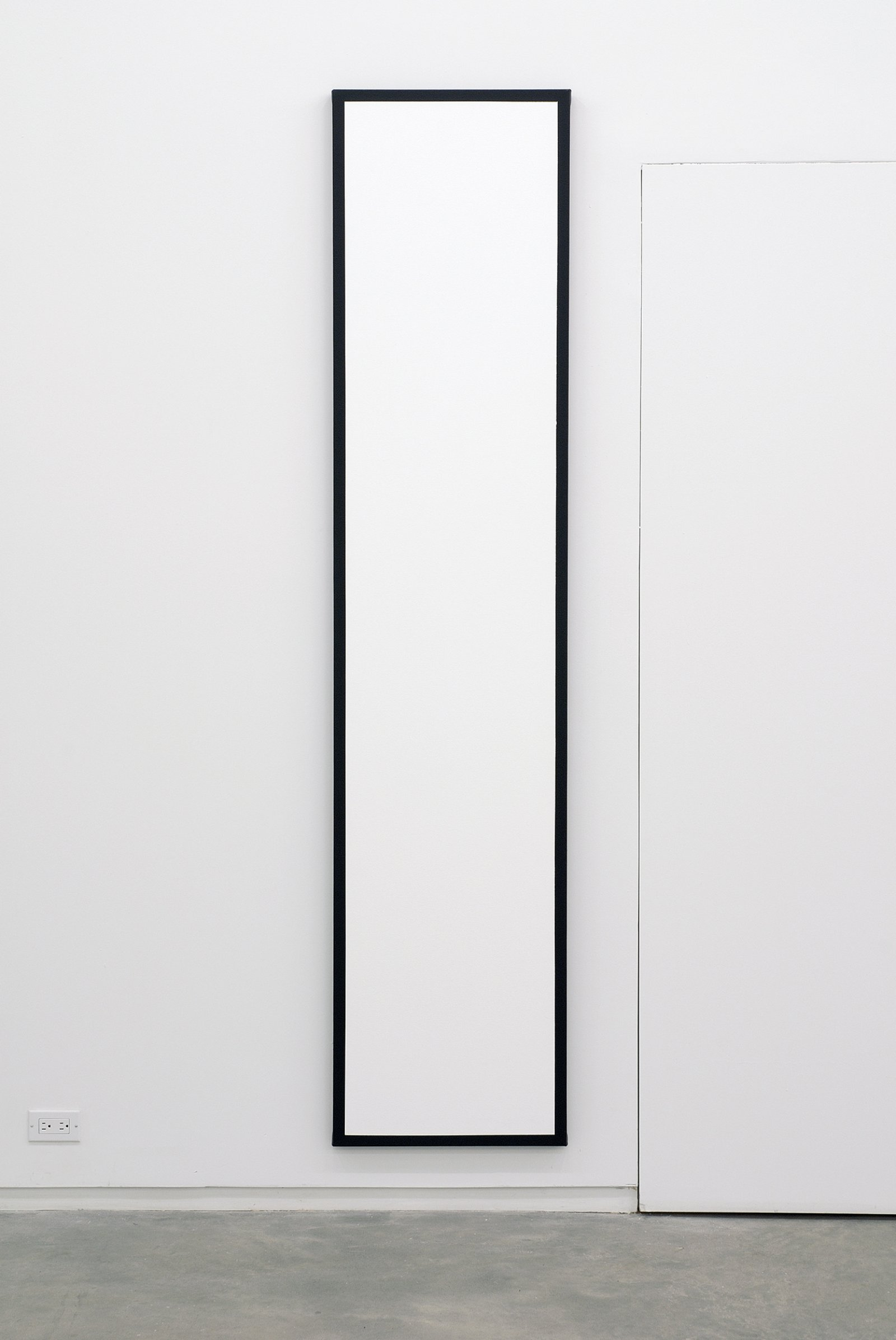 Ian Wallace, Untitled (White Monochrome with Black), 1967–2007, acrylic on canvas, 90 x 20 in. (229 x 51 cm)​ by Ian Wallace