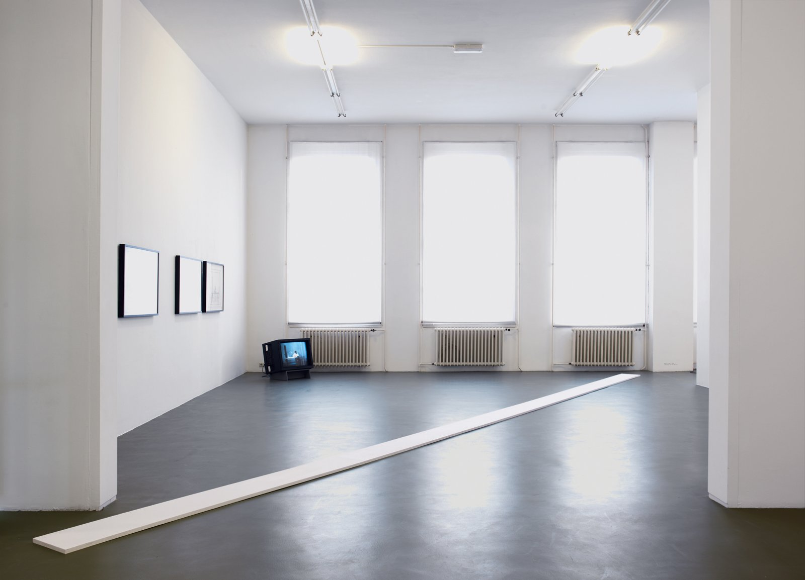 ​​​​​Ian Wallace, ​White Line, 1969–2008, wood and paint, 394 x 12 in. (1000 x 31 cm). Installation view, ​A Literature of Images​, Witte de With, Rotterdam, 2008​​​​​​ by Ian Wallace