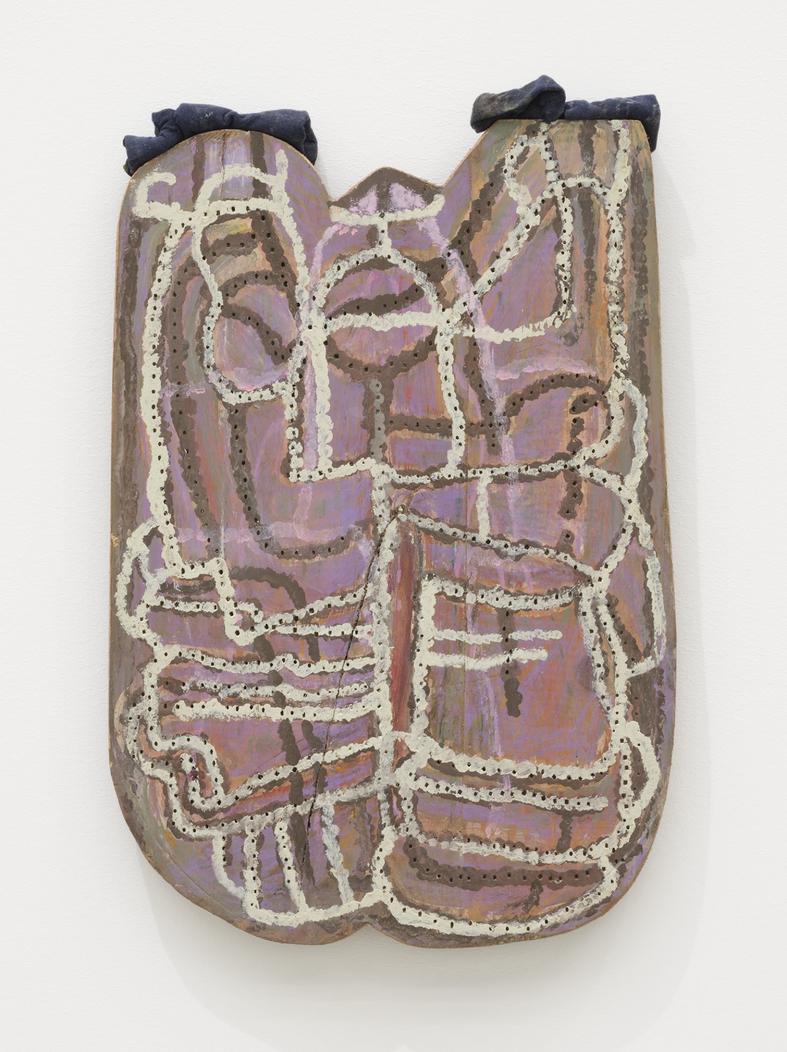 Ashes Withyman, Breath marionette, 2019, found wood, previously frozen paint, coloured pencil, fabric, nails, 17 x 11 in. (42 x 28 cm) by Ashes Withyman