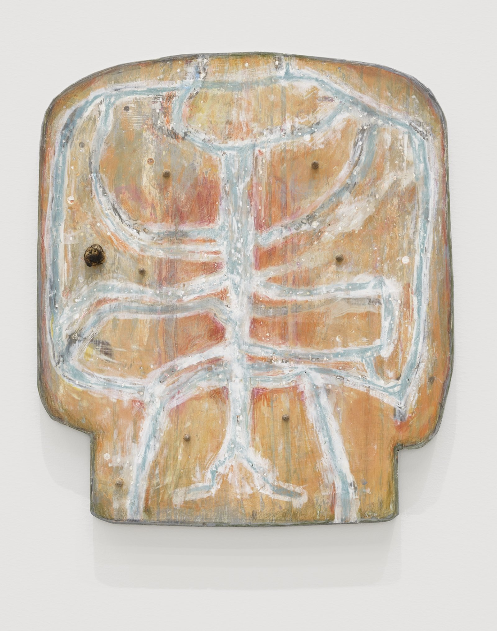 Ashes Withyman, One into Saturn, the other Jupiter, 2020, found wood, paint, wood filler, coloured pencil, Russian olive pits, osha root, 12 x 11 in. (31 x 28 cm) by Ashes Withyman