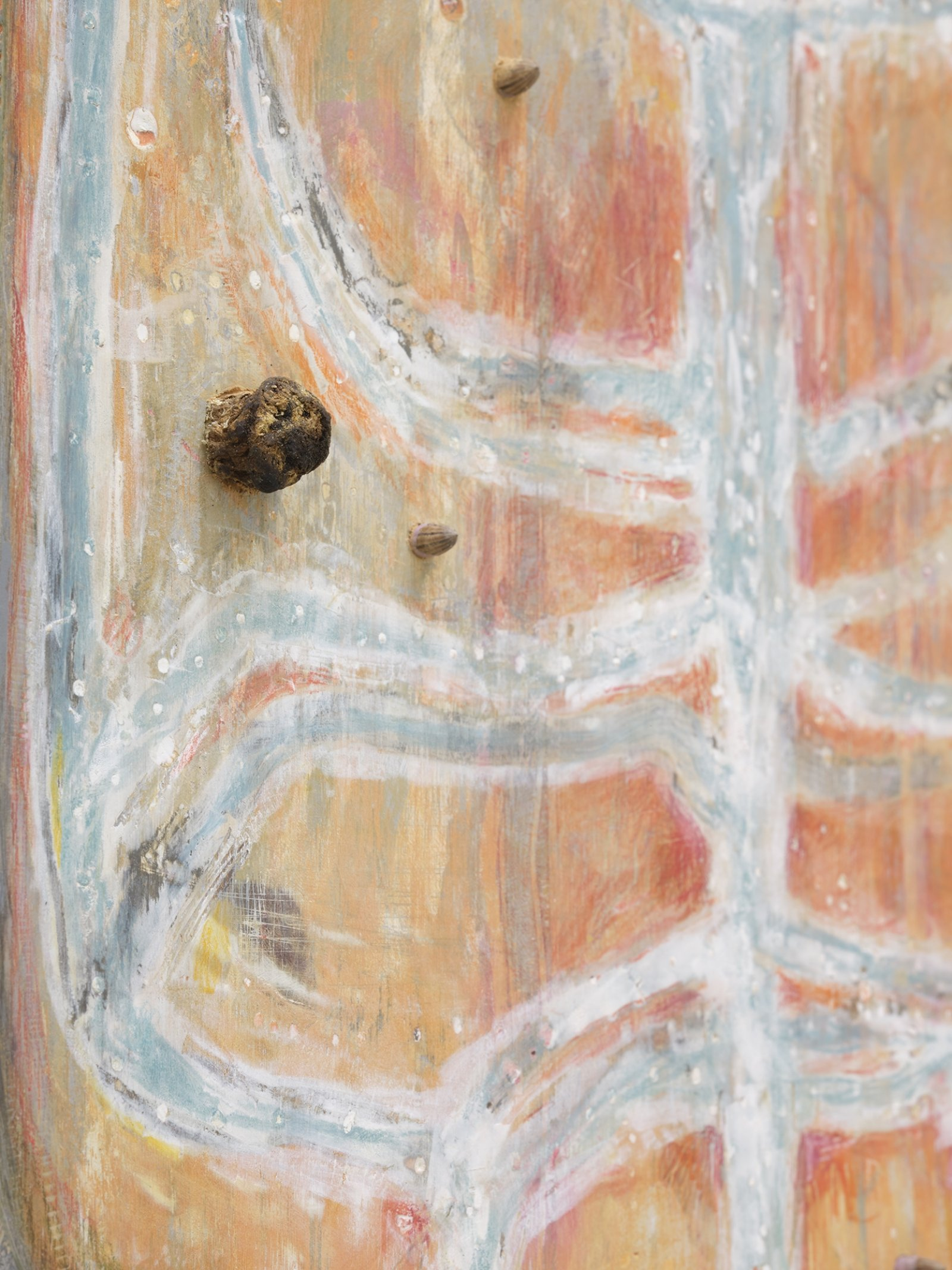 Ashes Withyman, One into Saturn, the other Jupiter (detail), 2020, found wood, paint, wood filler, coloured pencil, Russian olive pits, osha root, 12 x 11 in. (31 x 28 cm) by Ashes Withyman