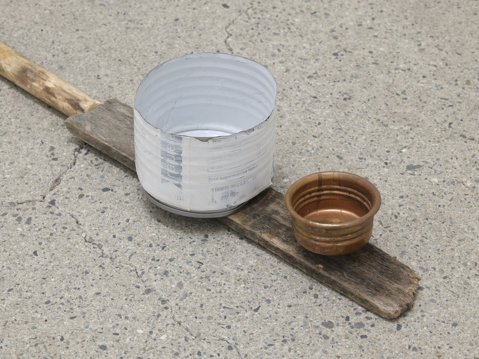 Ashes Withyman, River ladder (detail), 2020, found fence slat, branches, copper cup, tin can, rattle handle, 3 x 24 x 4 in. (8 x 61 x 9 cm)   by Ashes Withyman